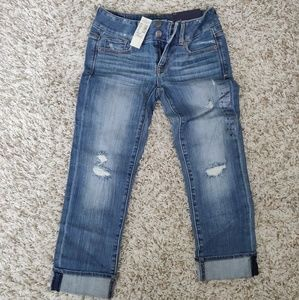 American Eagle Artist Crop Distressed Jeans 0 NWT